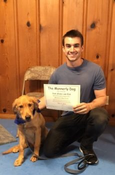 Zach and Ted with their Basic Manners Completion Certificate
